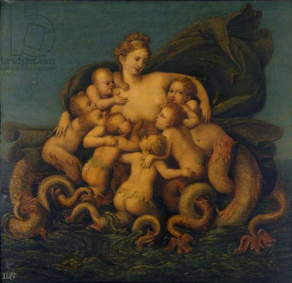 A mermaid feeding her young, 1520-40 (oil on panel)