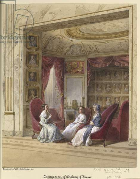 Royal visit to Louis-Philippe: the sitting room of Queen Marie-Amélie at the Château d'Eu, c.1843 (w/c on paper)
