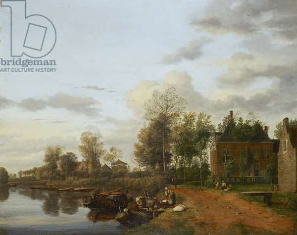 A Country House on the Vliet near Delft, c.1665 (oil on panel)