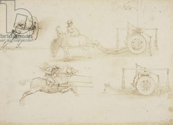 Designs of chariots and weapons, c.1485 (stylus, pen & ink and wash on paper)
