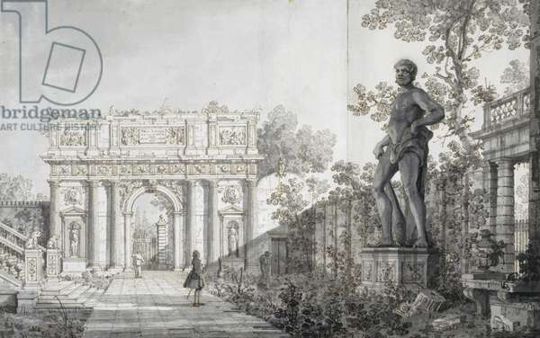 The Benavides garden, Padua, with a classical arch and statue of Hercules, c.1760 (pen & brown ink with grey wash over pencil)