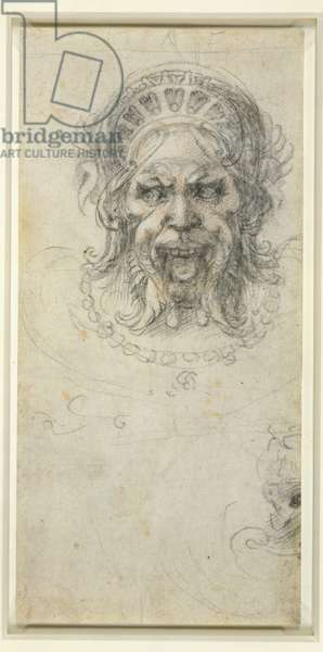 Grotesque head (black chalk on paper)