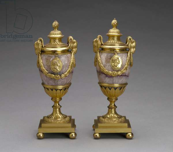 Pair of candle vases, 1770-71 (blue john & gilt bronze)
