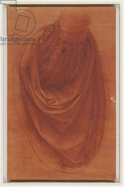 A study of drapery for a Salvator Mundi, c.1504-8 (red chalk with touches of white chalk and pen and ink on pale red prepared paper)