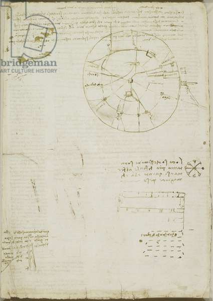 Verso: A schematic map of Milan, notes on the voice, etc., c.1508-10 (pen & ink on paper)