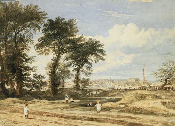 A view across London from Porchester Terrace, Bayswater, 1831 (pencil & w/c)