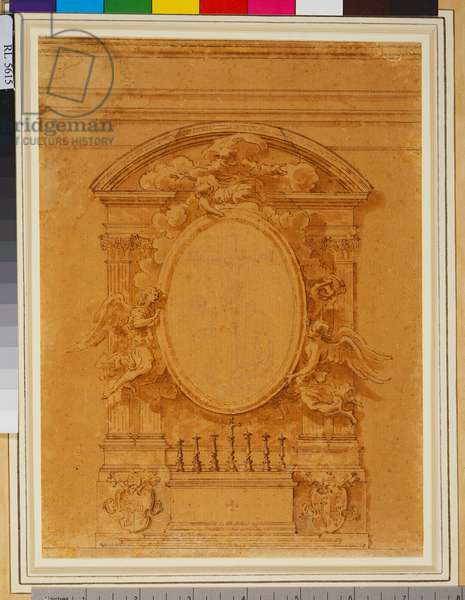 A study for the high altar, S. Tommaso da Villanueva, Castel Gandolfo c.1658-60 (pen and brown wash, with some black chalk in the central medallion on paper)