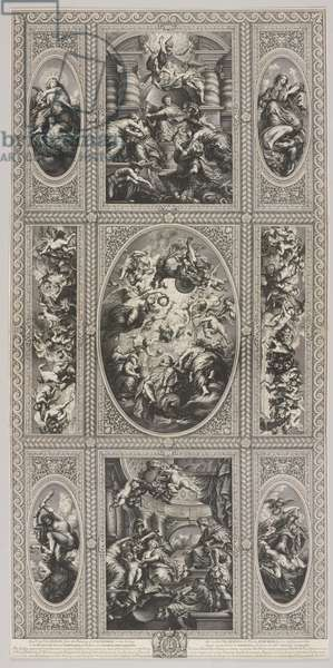 Ceiling murals for the Banqueting House, Whitehall, 1720 (engraving)