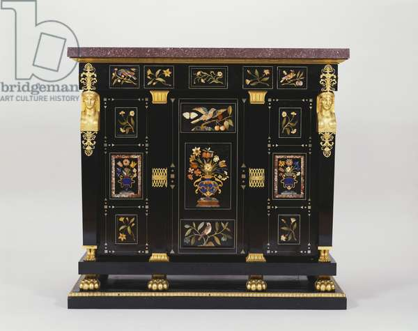 One of a pair of cabinets, 1803 (oak, ebony, mahogany, pewter, hardstones, porphyry, gilt bronze)