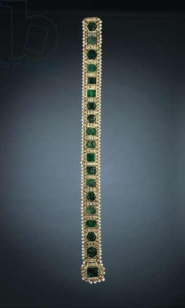 Girdle of Maharajah Sher Singh, c.1840 (precious stones, pearls, gold, fabric & silver-gilt thread)