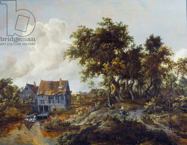 A watermill beside a woody lane, 1665-68 (oil on panel)