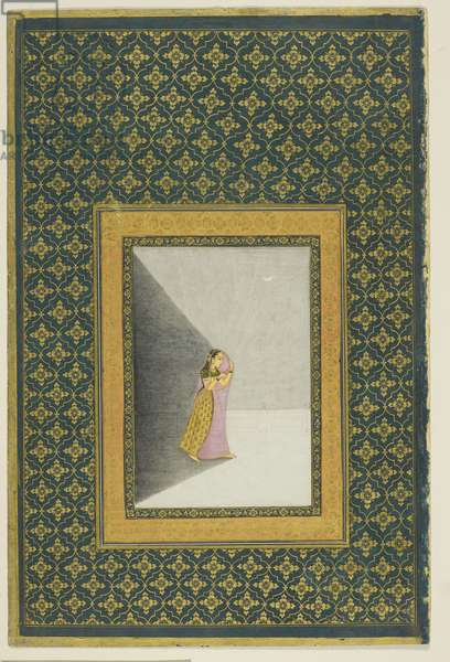 Lady holding a lamp, Delhi, c.1720-40 (opaque w/c & gold on paper)