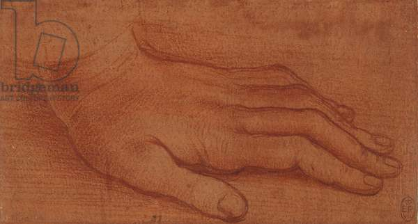 The left hand of St. Bartholomew in the Last Supper, after Leonardo da Vinci, c.1515 (red chalk with white heightening on red paper)