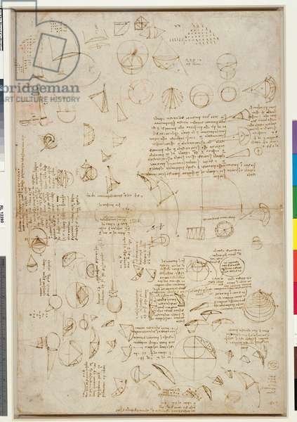 Recto: Studies of geometry, calculations, and notes, c.1508-10 (pen & ink on paper) (recto of 6166218)