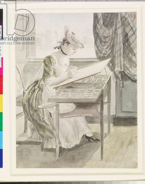 A young woman painting, c.1765-70 (pencil & w/c on paper)