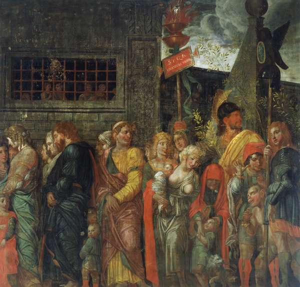 The Triumphs of Caesar, VII: The Captives, c.1484-92 (tempera on canvas)