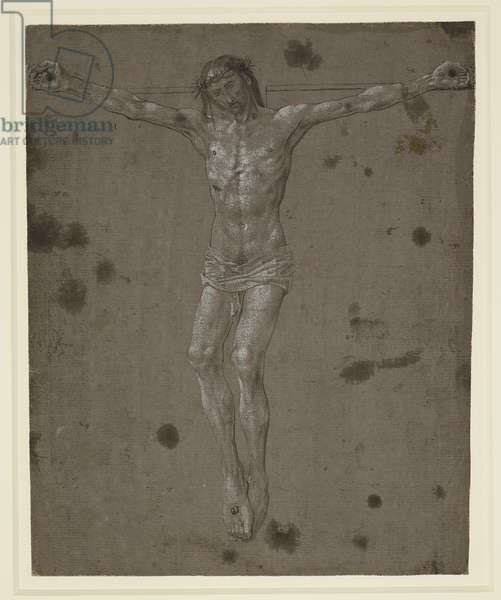 Christ on the Cross, c.1467-82 (pen and brush and brown ink, heightened with white, on slate-grey prepared paper)