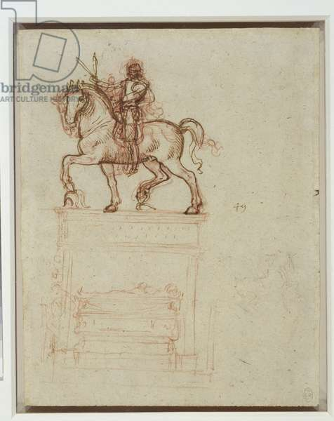 A study for an equestrian monument, c.1517-18 (pen & ink and chalk on paper)