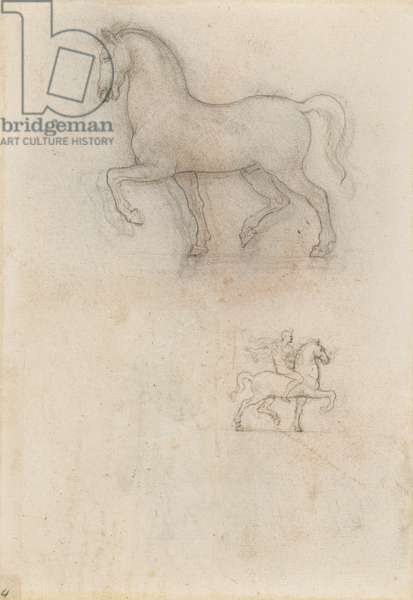 Designs for an equestrian monument, c.1517-18 (chalk, pen & ink on paper)