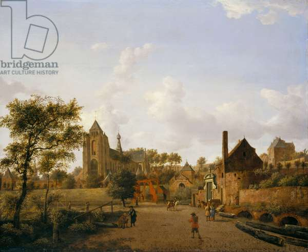 The South-West Approach to the Town of Veere with the Groote Kerk, 1666 (oil on panel)
