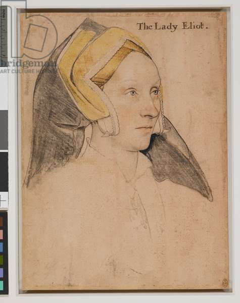 Margaret, Lady Elyot (c.1500-1560), c.1532-34 (black and coloured chalks, white bodycolour, and pen and ink on pale pink prepared paper)