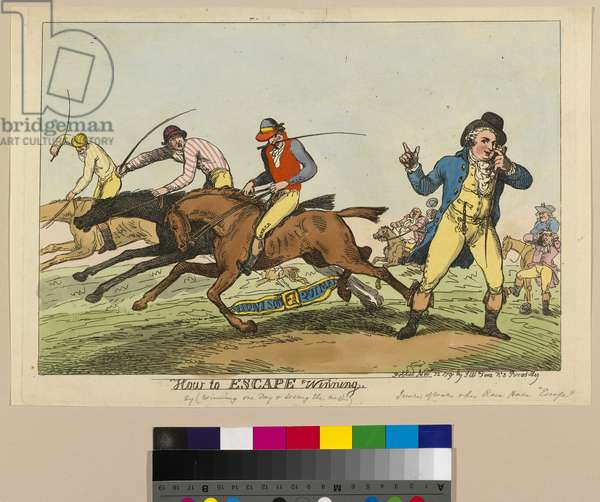 How to Escape Winning, 22nd November 1791 (hand-coloured etching)