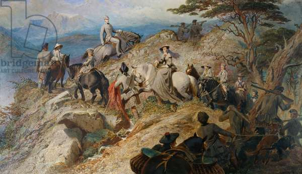 Morning in the Highlands: the Royal Family ascending Lochnagar, 1853 (w/c, bodycolour & scraping out on paper)