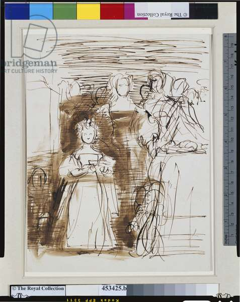 Sketch of Queen Adelaide with Princess Victoria and members of her family, 1831 (pen, brown ink & wash on paper)