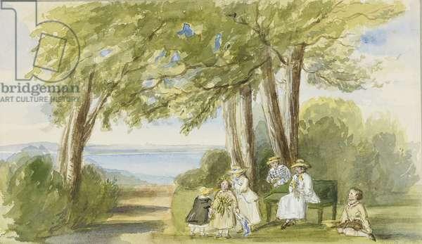 The Children at Osborne, 1850 (w/c & bodycolour over pencil on paper)