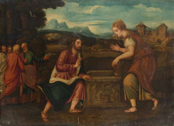 Christ and the Woman of Samaria c.1540 (oil on canvas)
