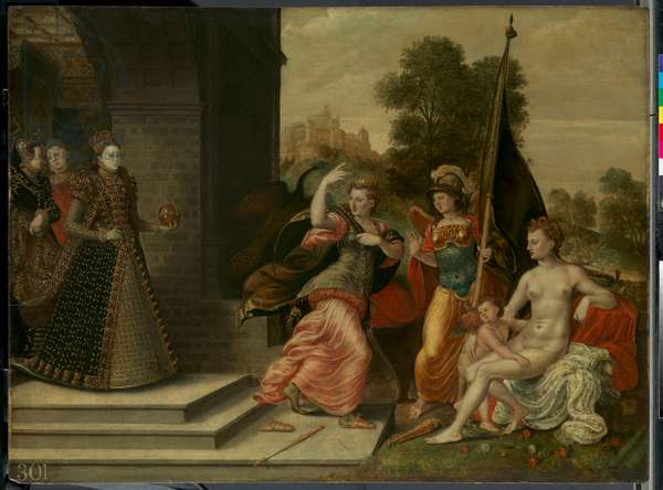 Elizabeth I and the Three Goddesses, 1569 (oil on panel)