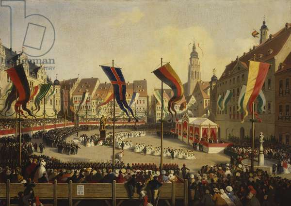 The Unveiling of the Prince Consort's Statue in the Marketplace at Coburg, 16 August 1865, 1866 (oil on canvas)