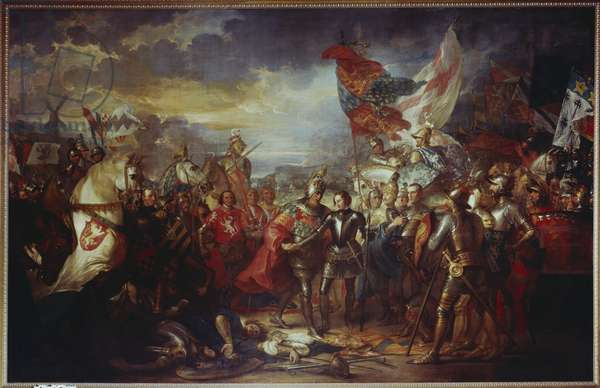 Edward III with the Black Prince after the Battle of Crecy, 1788 (oil on canvas)