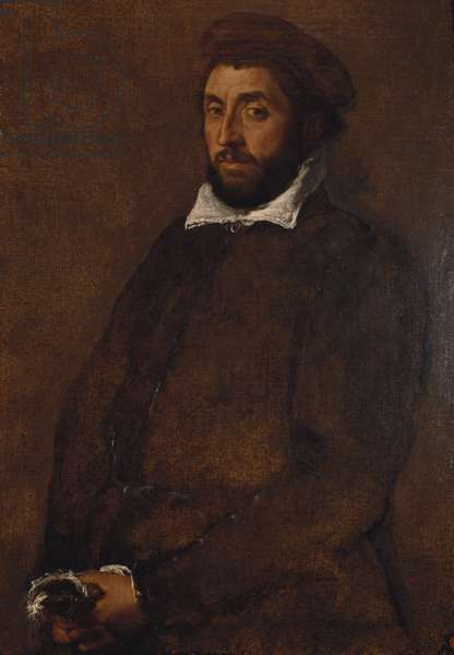 Portrait of a Man Holding Gloves, c.1555-60 (oil on canvas)