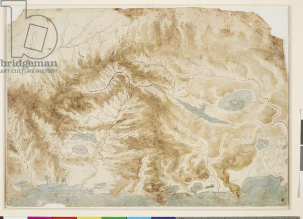 The rivers and mountains of central Italy, c.1502-4 (pen and ink, and brown and blue wash, over black chalk)