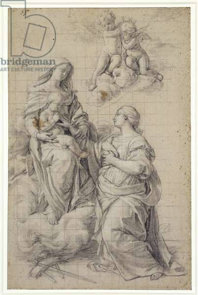 The Mystic Marriage of St. Catherine, c.1650 (chalk on paper)