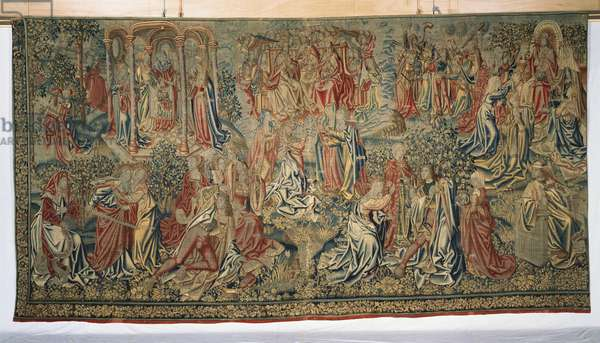 Peace and Mercy win the Promise of the Redemption of Man, from a series of 'The Seven Deadly Sins' (textile)