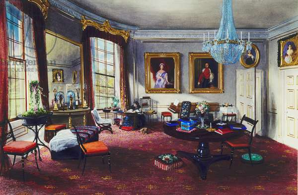 Frogmore House: The Duchess of Kent's Sitting Room, 1857 (w/c & bodycolour on paper)