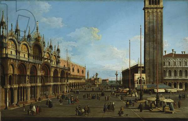 The Piazza and Piazzetta from the Torre dell'Orologio toward S. Giorgio, 1744 (oil on canvas)
