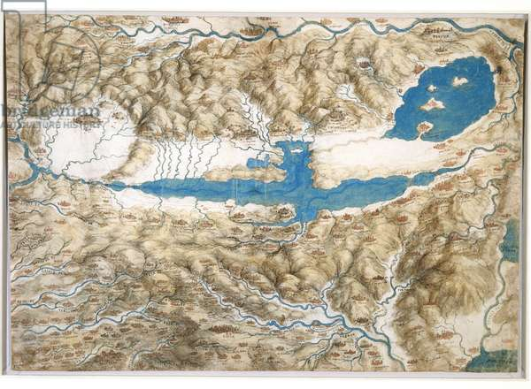 Map of the Valdichiana, c.1503-04 (pen & ink, w/c, bodycolour and chalk on paper)