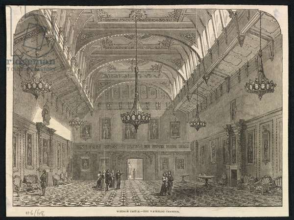 Windsor Castle - The Waterloo Chamber (engraving)