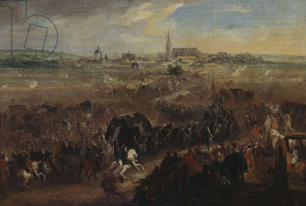 The Funeral Cortège of Louis XIV (1643-1715) in front of St. Denis, 9 September 1715, c.1715-42 (oil on canvas)