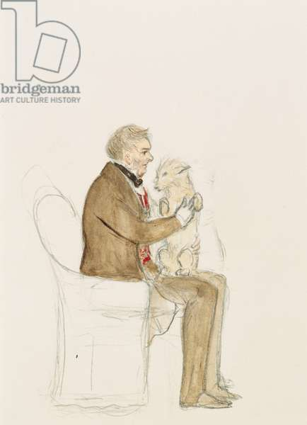 Lord Melbourne with Queen Victoria's dog Islay (pencil & w/c on paper)