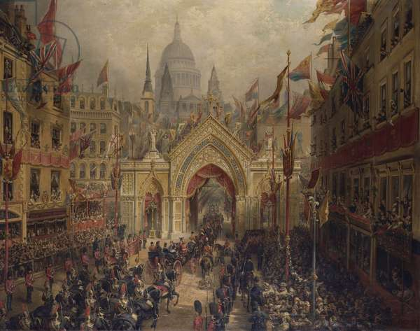 'Thanksgiving Day': The Procession to St Paul's Cathedral, 27 February 1872, before September 1873 (oil on canvas)