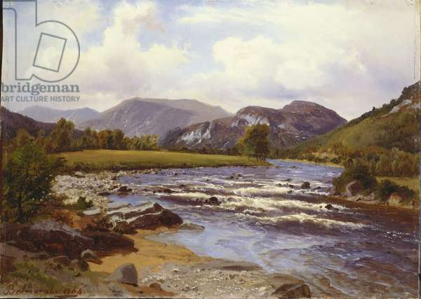 A view on the Dee, 1864 (oil on canvas mounted on millboard)