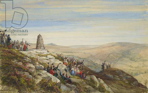 Completion of the cairn or Carn Elach Chiuimkneachan, on Craig Gowan, 12th October 1852 (w/c on paper)