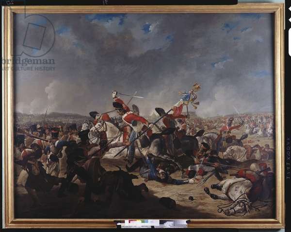 The Battle of Waterloo: The charge of the 2nd Brigade of cavalry, c.1812-17 (oil on canvas)