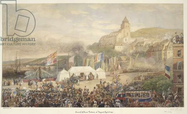 Royal visit to Louis-Philippe: arrival of Queen Victoria at Le Tréport, 2 September 1843, c.1843 (w/c on paper)