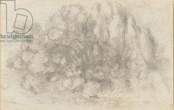 A rockfall in a mountainous landscape, c.1512-18 (chalk on paper)