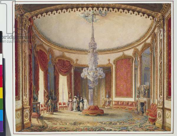 Brighton Pavilion, Salon (hand-coloured etching)